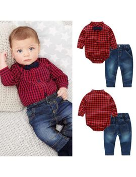 2pcs Newborn Toddler Baby Boy Romper Bodysuit Jumpsuit+Jeans Outfits Clothes Set by Unbranded
