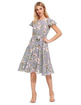 Floerns Women's Floral Print Ruffle Tie Waist Summer Chiffon Dress by Floerns