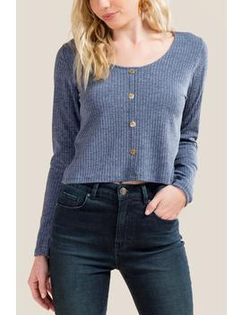Kay Basic Ribbed Button Front by Francesca's