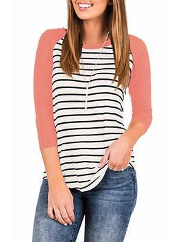 Infitty Women's 3/4 Sleeve Raglan Striped T Shirt Baseball Tunic Tops Blouse by Infitty