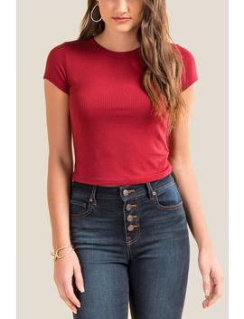 Kyleigh Ribbed Knit Crop Top by Francesca's
