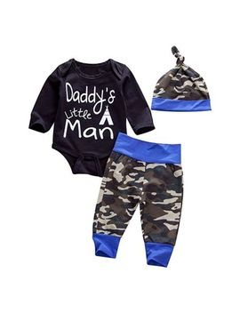 Newborn Baby Boy Kids Letter Printed Camo Romper Hat Pant Bodysuit Outfits 3pcs by Unbranded