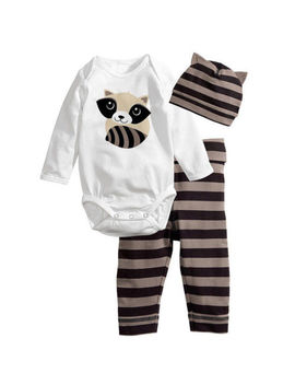 3 Pcs/Set Newborn Baby Boys Girls Kids Romper Hat Pants Bodysuit Outfits Clothes by Unbranded