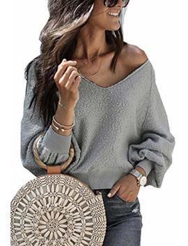 Angashion Women Sweatshirts   Long Sleeve V Neck Fleece Fuzzy Loose Pullover Sweater Tops by Angashion