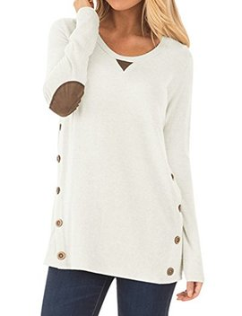 Women Casual Long Sleeve Crewneck Elbow Patch Sweatshirt Button Details Tops by Yioioio