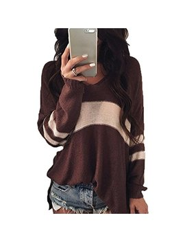 Hzsonne Women's Casual Loose Fit V Neck Pullover Long Sleeve Color Block Striped Sweater Blouse Knitwear by Hzsonne