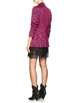 Leopard Print Satin Single Button Blazer by Robert Rodriguez