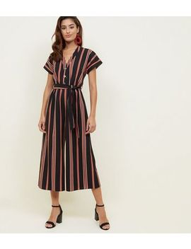 Black Multi Stripe Button Up Culotte Jumpsuit by New Look