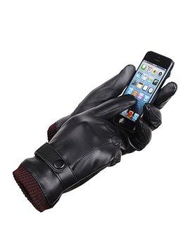 Laowwo Pu Leather Touchscreen Gloves Driving Gloves Black Winter Warm Gloves by Laowwo