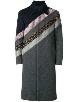 Fendipanelled Stripe Coathome Men Fendi Clothing Single Breasted Coats by Fendi