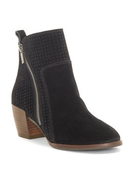 Lashiya Oiled Suede Block Heel Booties by Lucky Brand