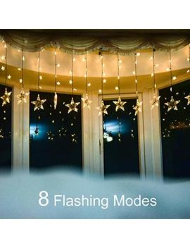 Yoyo Kit Curtain String Lights, 7ft 120 Led Stars Window Curtain Light With 8 Flashing Modes For Christmas, Wedding, Party, Home, Patio by Yoyo Kit