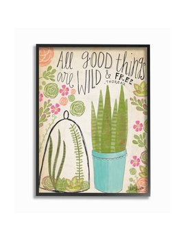 The Stupell Home Decor Collection Good Things Are Wild And Free Houseplants Framed Giclee Texturized Art, 11 X 1.5 X 14 by The Stupell Home Collection