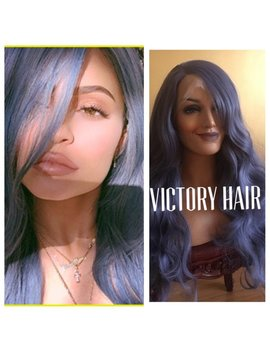 Celebrity Titanium Purple  Wavy  Lace Front Wig. Human Hair Blend by Etsy