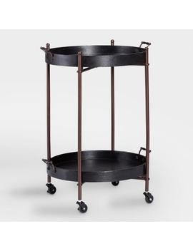 Black Wood Round Two Tier Butler Table by World Market