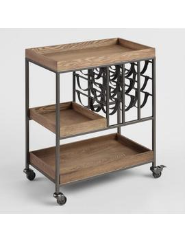 wood-and-faux-leather-strap-bar-cart-with-wine-storage by world-market