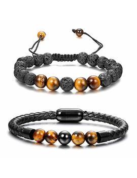 Funrun Jewelry 2 Pcs Black Bead Leather Bracelet For Men Healing Balancing Stone Diffuser Bracelet Magnetic Clasp by Funrun Jewelry