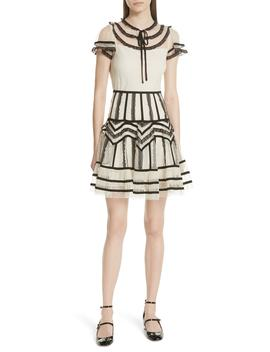Point D'esprit Ruffle Trim Dress by Red Valentino