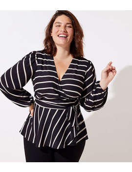 Loft Plus Striped Wrap Blouse by Loft