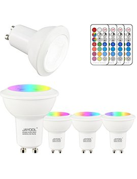 Jayool Gu10 Led Bulbs, Dimmable 3 W Colour Changing Spot Light Bullb With Remote, Rgb + Daylight White, Timer, 45° Beam Angle (Pack Of 4) by Jayool