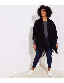 Loft Plus Ribbed Fringe Wrap by Loft
