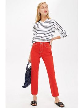 Petite Red Straight Jeans by Topshop
