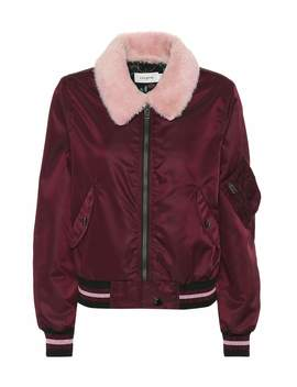 Lamb Fur Collar Bomber Jacket by Coach