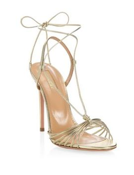 Soft Gold Whisper Sandals by Aquazzura