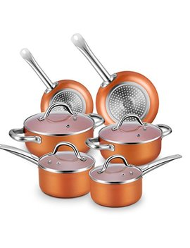 Nonstick Cookware Set, Chitomax Hard Porcelain Enamel Aluminum Cookware Sets 10 Piece With Heat Evenly Cookware Base Suitable For All Stovetops (Oven Safe To 500℉) by Chitomax