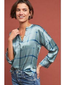 silk-windowpane-blouse by duet