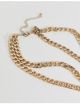 Asos Design Statement Multirow Necklace With Vintage Style Snake Locket In Gold by Asos Design
