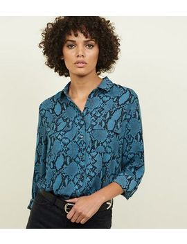 Blue Snakeskin Print Pocket Front Shirt by New Look