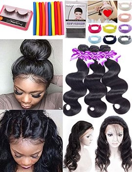 Brazilian Body Wave 3 Bundles With Closure 14 16 18 With12'' Pre Plucked 360 Lace Frontal With Bundles 8 A Unprocessed Brazilian Human Hair Bundles With... by Snow Hair