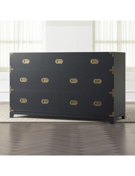 Kids Navy Blue Campaign Wide Dresser by Crate&Barrel