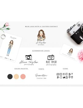 Branding Kit With A Custom Portrait/ Premade Branding Package/Photography Logo, Business Card/ Watercolor Portrait /Marketing & Branding Set by Etsy