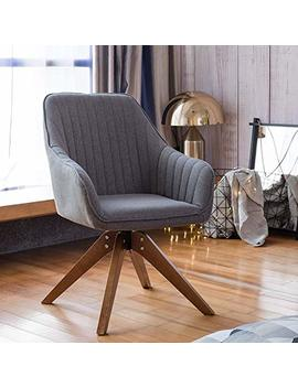 Art Leon Accent Club Chair With Wood Legs, Rotatable Arm Chair Mid Century Industrial Style Grey For Home Office Study Living Room Dining Room Designed Furniture by Art Leon