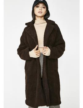 Dipped In Chocolate Fuzzy Coat by Re Named
