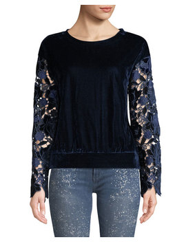 Velvet Lace Bell Sleeve Blouse by Stellah