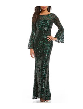 Infusion Sequined Lace Illusion Bell Sleeve Gown by Carmen Marc Valvo