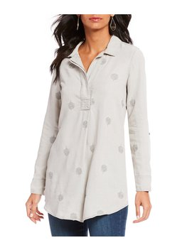 Medallion Embroidered Long Roll Tab Sleeve Shirttail Tunic by Chelsea &Amp; Theodore