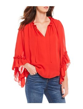 Tanner Ruffle Bell Sleeve V Neck Blouse by Gianni Bini