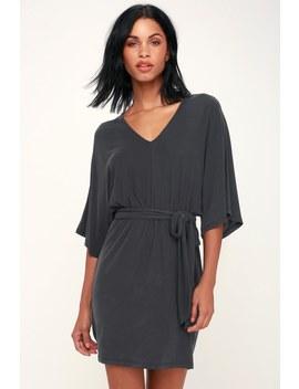Joss Washed Black Kimono Sleeve Mini Dress by Lush