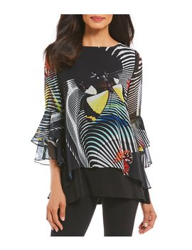 Butterfly Print 3/4 Sleeve Tunic by Ic Collection