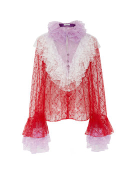 Ruffled Floral Tulle Blouse by Rodarte
