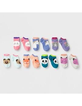 Girls' 7pk Fuzzy Critters No Show Socks   Cat & Jack™ by Cat & Jack™
