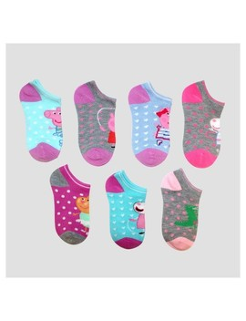 Girls' Peppa Pig® 6pk + 1 Free Casual Socks   Blue S/M by Peppa Pig