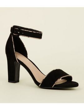 Black Comfort Flex Suedette Faux Snakeskin Trim Sandals by New Look