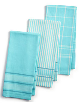 3 Pc. Jacquard  Striped Cotton Kitchen Towels, Created For Macy's by Martha Stewart Collection
