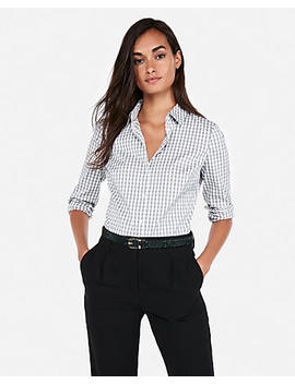 Fitted Plaid Essential Shirt Bodysuit by Express