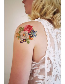 Round Floral Temporary Tattoo / Bohemian Temporary Tattoo / Flower Temporary Tattoo / Bohemian Gift / Festival Temporary Tattoo / Bohemian by Etsy